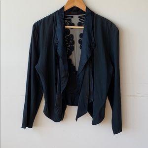 Wild Rose Black Pleated Mesh Lace Blazer Size 10